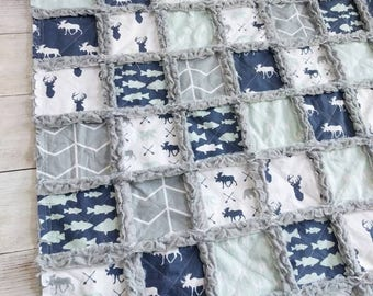 Woodland Rag Quilt for Baby Boy- Deer Quilt - Bear Quilt - Navy Quilt - Mint Green Quilt - Fish Quilt - Baby Boy Bedding - Woodland Nursery