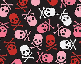 Skull Scatter Pink/Black, Goth White, Skull Fabric, by David Textiles Fabric, 100% Cotton by the yard