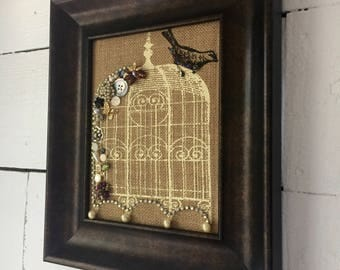 Wall hanging, embellished burlap, birdcage, frame, home decor, housewarming gift, handmade, wall decor, bird, FREE SHIPING