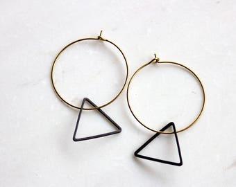 Gold Hoop Triangle Earrings, Black and Gold geometric hoops, Simple Earrings, Minimalist Earrings, Bridesmaid Earrings, Gift for her
