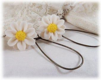 White Daisy Dangle Earrings - White Daisy Drop Earrings