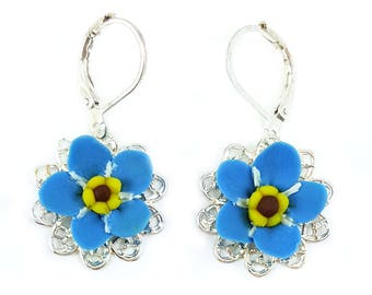 Forget Me Not Filigree Earrings - Forget Me Not Vintage Style Earrings, Forget Me Not Jewelry