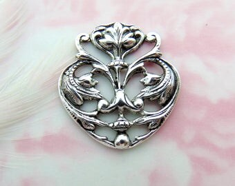 ANTIQUE SILVER * Art Nouveau Floral Scroll Motif Ornament Stamping ~ Jewelry Finding (FA-6075)