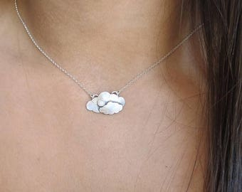 ON SALE Clouds Necklace To the Moon and Back Necklace Mommy & Me Necklace Sterling Silver Opal Necklace October Birthstone Handmade Cloud Pe