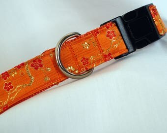 Brocade Silk  - Large Dog Collar - Orange - 1 Inch Wide - Adjustable Between 14-22 Inches - Exquisite - READY TO SHIP