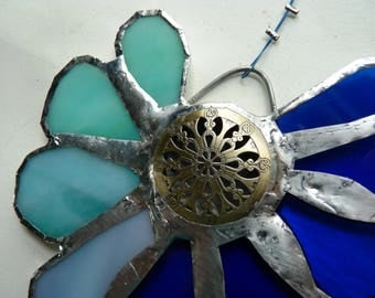 Stained Glass Flower Suncatcher - Notre Dame - Blue with Carved Brass Mandala Centerpiece