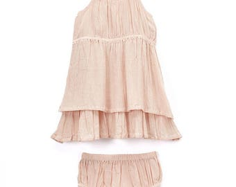 Cotton muslin blush pink dress with bloomers