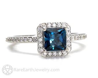London Blue Topaz Ring Topaz Engagement Ring Princess Diamond Halo Ring Gemstone Ring