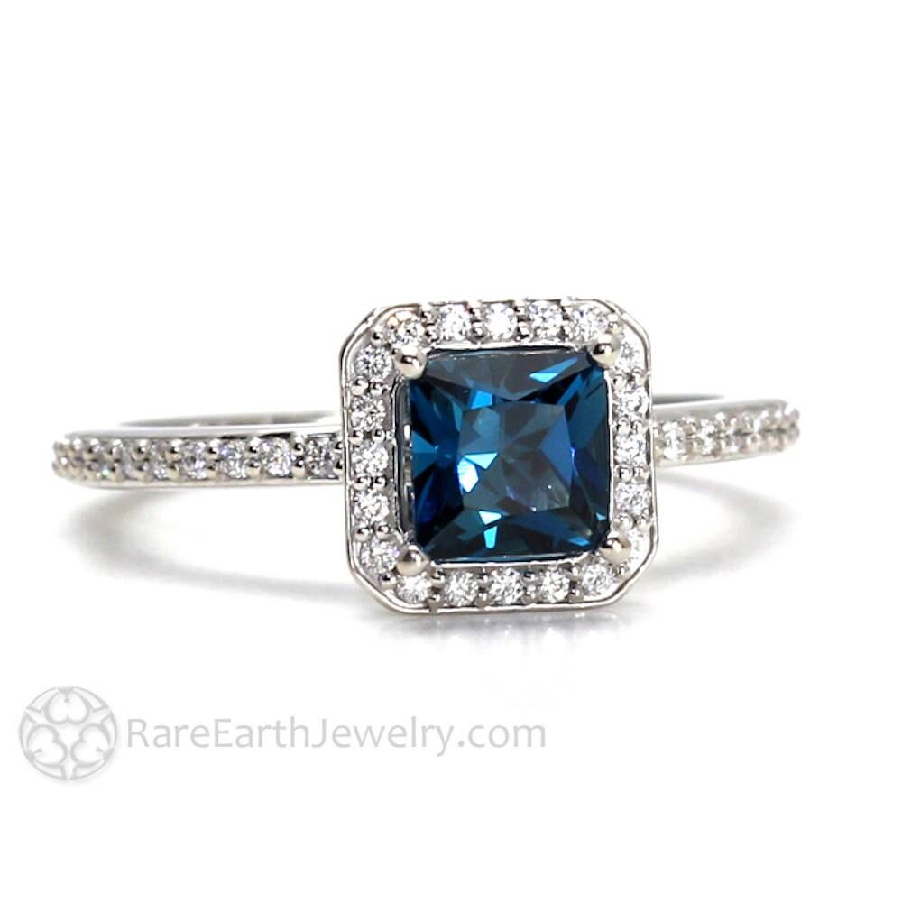 london blue topaz ring topaz engagement ring princess diamond. Black Bedroom Furniture Sets. Home Design Ideas