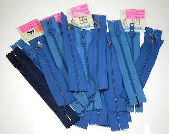 Vintage 90s Zippers Lot Seamstress Supply Various shades of Blue plus one Black Metal & Nylon Great for Pouches Small Purses etc