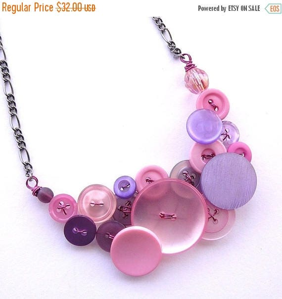 Christmas in July Sale Light Pink and Lilac Lavender Vintage Button Statement Necklace