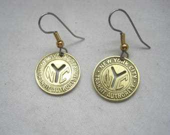 Coin Jewelry~ Antique New York subway token earrings-small- cut out-memories!
