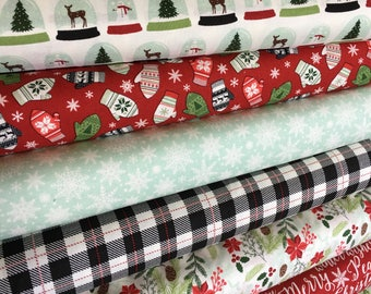 Christmas Fabric by the Yard, FabricShoppe, Comfort and Joy by Riley Blake, Christmas Quilt fabric, Snowglobe Mittens- Fabric Bundle of 7