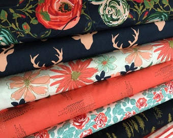 Woodlands Fusion Fabric, Floral Fabric, Woodland Baby Quilt fabric, Rustic Home Decor, Deer Fabric,  Bundle of 8, Choose the Cuts