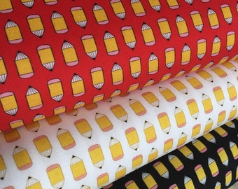 Pencil fabric, Novely fabric, Kids or childrens, Teacher gift, Suzie's Minis fabric bundle of 3, Office, Gift for daughter, Choose the Cut