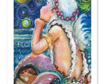 Starry Night, Mermaid art, Colorful PRINTS, 2 sizes to choose from