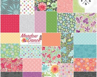 "Amanda Murphy Meadow Dance Precut 5"" Charm Pack Fabric Quilting Cotton Squares Benartex SQ22"