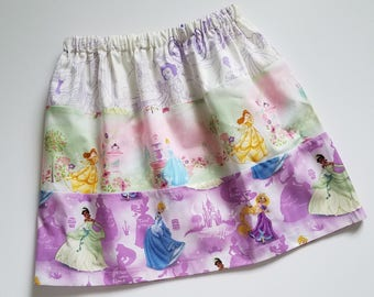 Girls Skirt size 6 Princess Skirt with Princesses Three Tier Skirt Princess Outfit Cinderella Belle Tiana Unique One of a Kind Ready to Ship