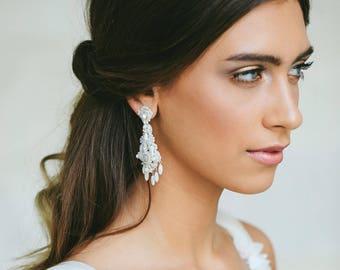 Pearl Wedding Chandelier Earrings | Statement Earrings for Brides | Teardrop Bridal Earrings | Silver Wedding Earrings | Boho Chandeliers