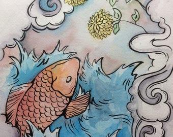 Japanese Koi fish watercolor painting