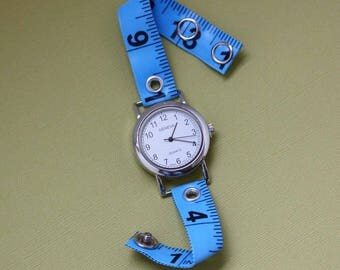Tape Measure Watch in Blue - Round Face - Statement Jewelry created with Upcycled Measuring Tape