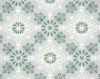 1940s Vintage Wallpaper by the Yard - Geometric Wallpaper Green and Gray