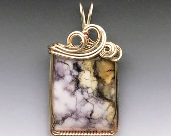 Tiffany Stone Bertrandite Opalized Fluorite 14k Yellow Gold Filled Wire Wrapped Pendant - Ready to Ship!