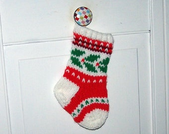 Hand knit Christmas ornament stocking