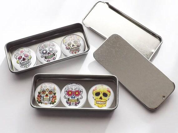 "Sugar Skulls Gift Set slide top tins six 1"" fridge magnets pins stocking stuffers geek goth day of the dead halloween dia de los muertos"