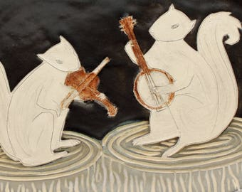 Night Squirrel Music- rectangular plate- Ruchika Madan