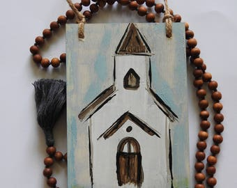 Gratitude Steeple - Wooden church painted sign