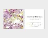 Marble Calling Cards | Magenta Purple Violet Chartreuse |  Business Cards | Blogger Cards | Set (50)