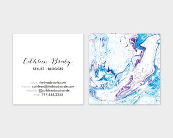 Blue + Maroon Marble Calling Cards | Business Cards | Blogger Cards | Set (50)