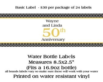 24 Personalized Water Bottle Labels - 50th Anniversary - Any Year Anniversary