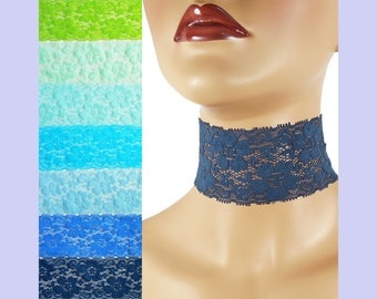 Extra Wide Stretch Lace Choker 2 - 2.25 inches Blue Green or Teal Custom made Your Length and Color shade (approximate width 50 - 60 mm)