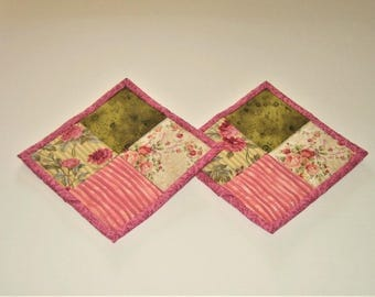 Hot Pads Pink Olive Green (Set of 2)