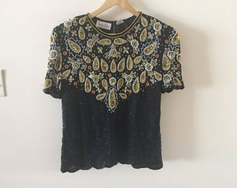 Glitzy Beaded Sequin Top Vintage 1980s Laurence Kazar New York sz M/L  Black and Gold