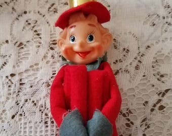 Cute Little Vintage Noel Christmas Elf  Pixie with Gold Top Hat