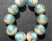 Lampwork Beads (10) Rounds Pale Wave Ocean Sea Beach Water Destash 11