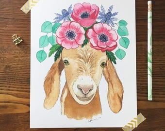 Goat Art. Watercolor Goat. Goat Painting. Boho Nursery. Animal Nursery Art. 8 x 10 Print. Flower Crowns. Children's Decor. Gift Under 20