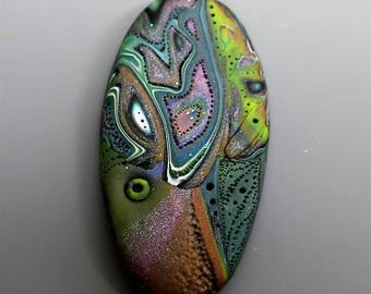 Mokume Gane Pendant, Polymer Clay in Custom Blended Colors, Handmade Jewelry Component