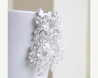 Summer Sale Bridal Earrings Marquis Pear CZ Silver Stud IE6S
