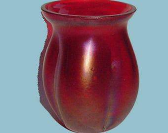 Toothpick Holder - Red Satin Iridescent Glass - Toothpick Holder - Lovely Vintage Toothpick