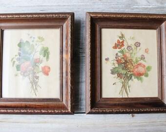 A set of Botanical Art Prints,flower art work, Vintage Art, wildflowers Vintage Framed Art, Vintage wall decor, framed print, Floral Print