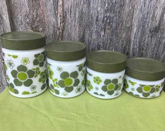 Set of 4 Vintage White Milk Glass Canisters with Avocado Green Plastic Lids and Mod Flowers