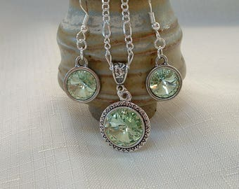 Chrysolite Swarovski Necklace and Earring Set