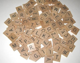 Vintage 1950s Wooden Scrabble Tiles or Game Pieces Set of 100