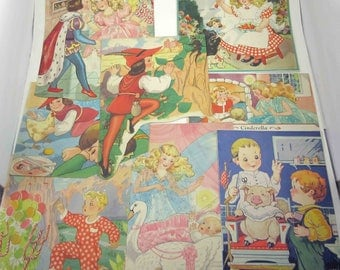 Vintage 1940s Children's Textured Picture Book Pages Set of 8