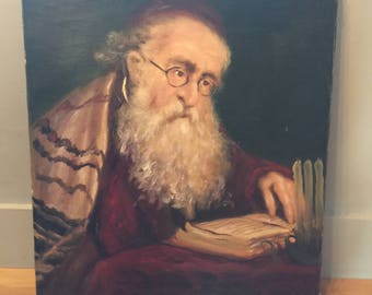 Vintage Oil Painting of Rabbi