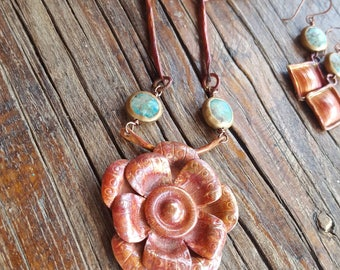 Copper Flower Necklace - Handmade - Turquoise - Cowgirl Jewelry - Copper Necklace -  Rustic Necklace by Heart of a Cowgirl